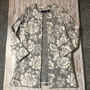 Cythia Rowley Wool Blend Open Front Floral Coat